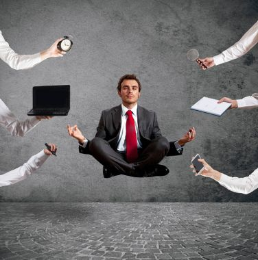 businessman doing  yoga exercise