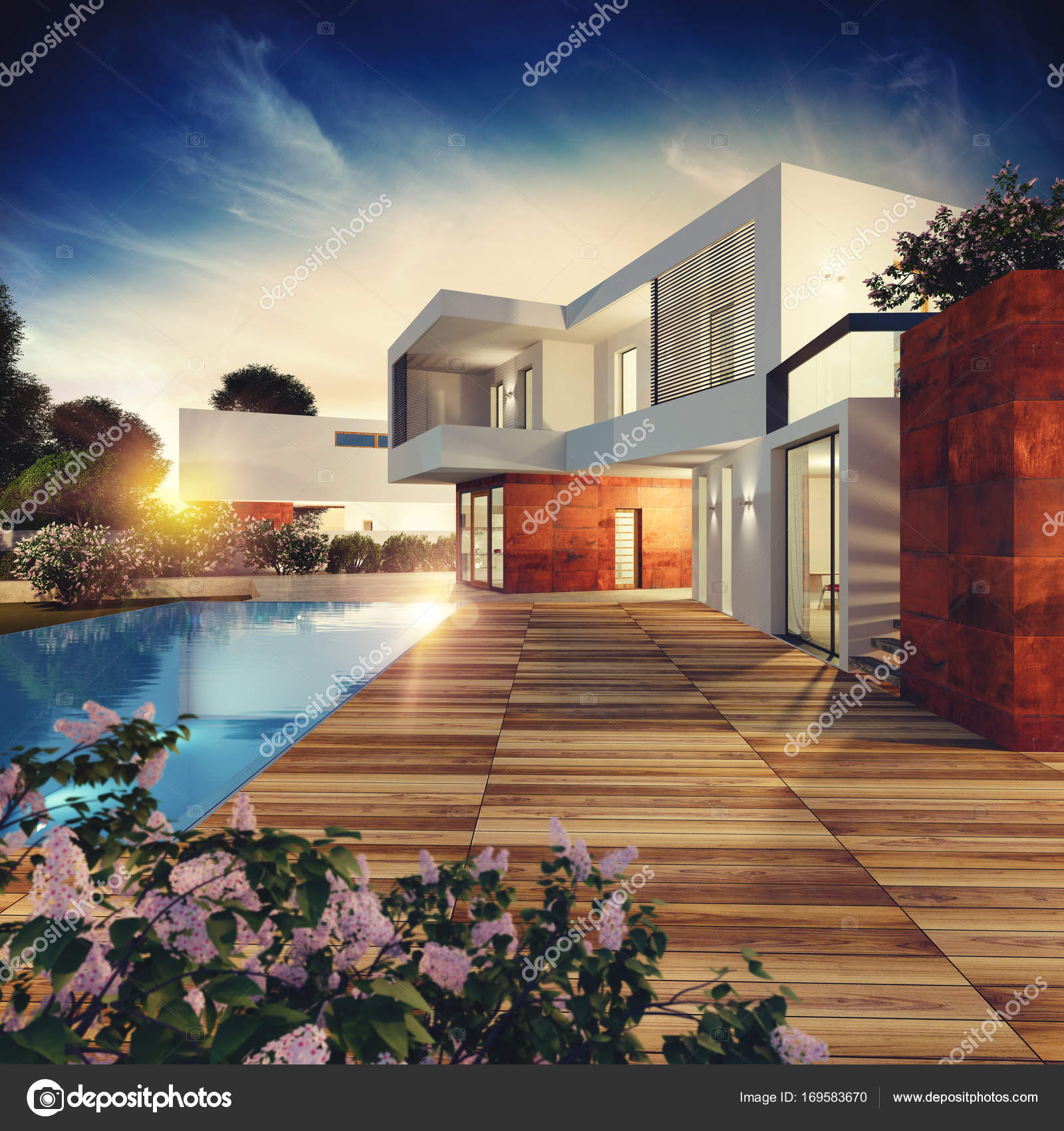 Exterior view of a modern villa — Stock Photo © alphaspirit #169583670