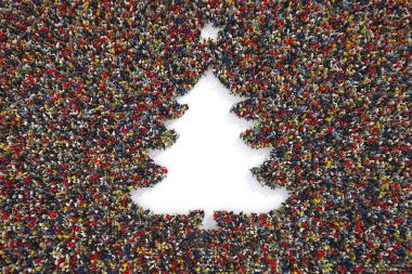 Aerial view of people forming the shape of a christmas tree. 3D Rendering stock vector