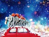 Fotografie Oldtimer mit Weihnachtsbaum und Geschenke mit Nacht-Licht-Effekt. 3D-Rendering