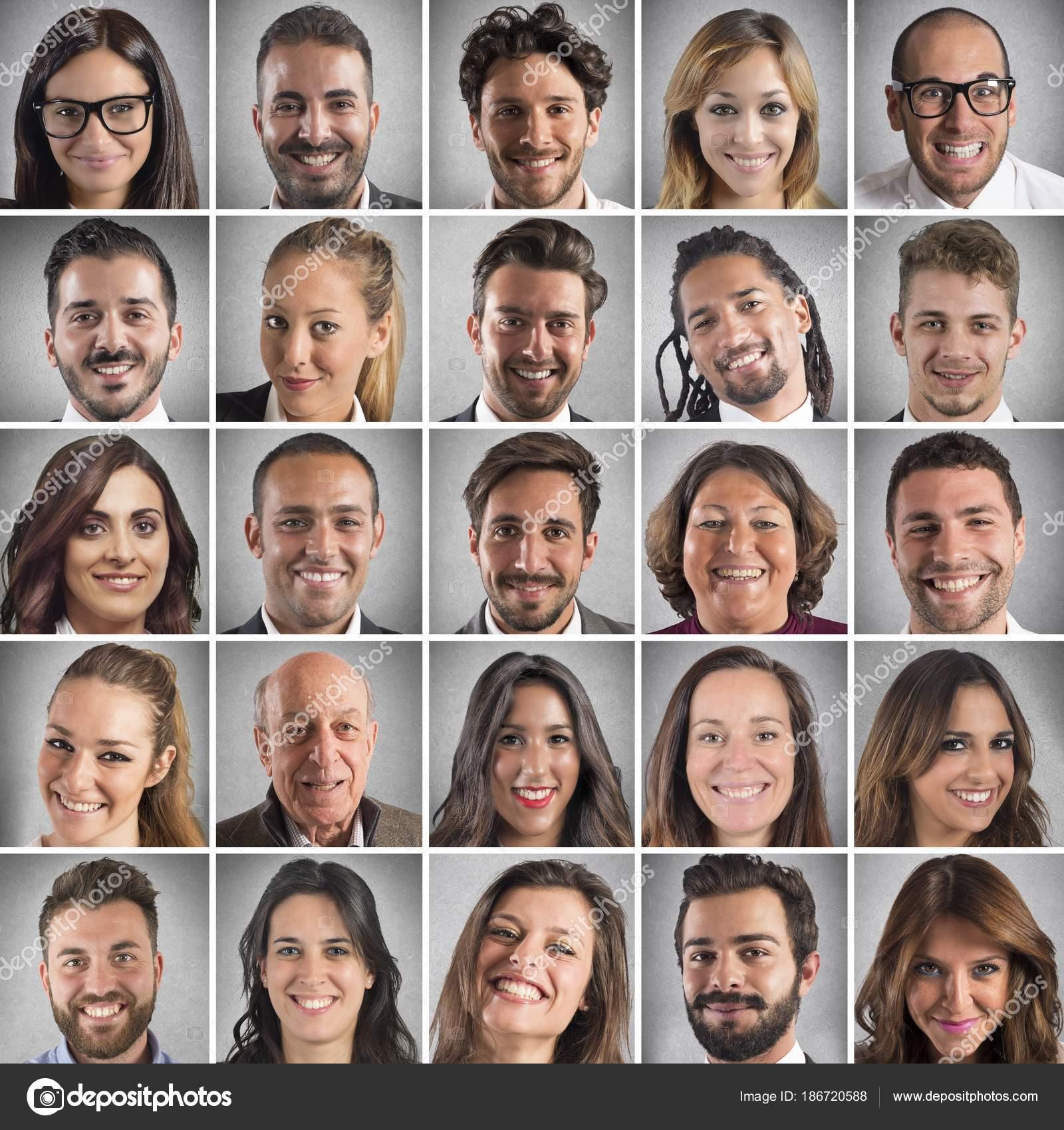 smiling faces collage stock photo alphaspirit 186720588