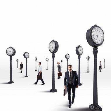 Business men always keep an eye on the clock. 3D Rendering