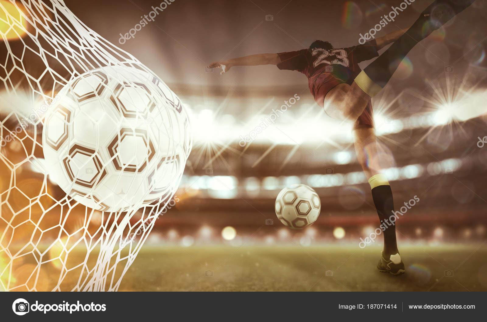 Plano de fundo de uma bola de futebol marca um gol na net. renderização 3D 967823fa8ef98