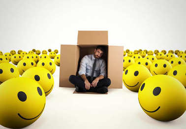 Alone desperate businessman in the middle of happy smileys . 3D Rendering