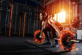 Fotografie Athletic girl works out at the gym with a fiery barbell