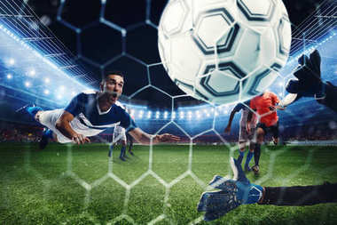 Football scene with competing football players at the stadium. 3D Rendering