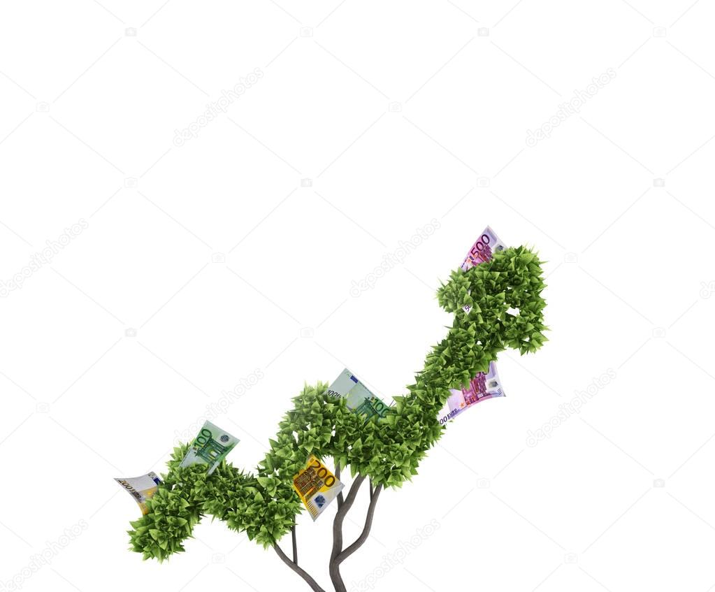 Money tree. Concept of growth and improvement. 3d rendering