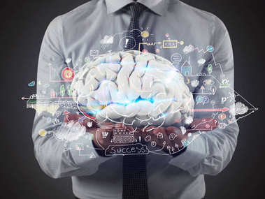 Man holds a brain with business drawing sketches on his hands. 3D Rendering