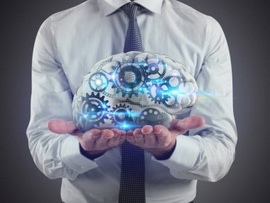 Man holds a brain with gears inside on his hands. 3D Rendering