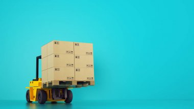 Electric yellow forklift loads a wooden pallet with boxes on cyan background