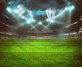 Foci stadion a standok tele rajongók várja az éjszakai játék. 3D Renderelés