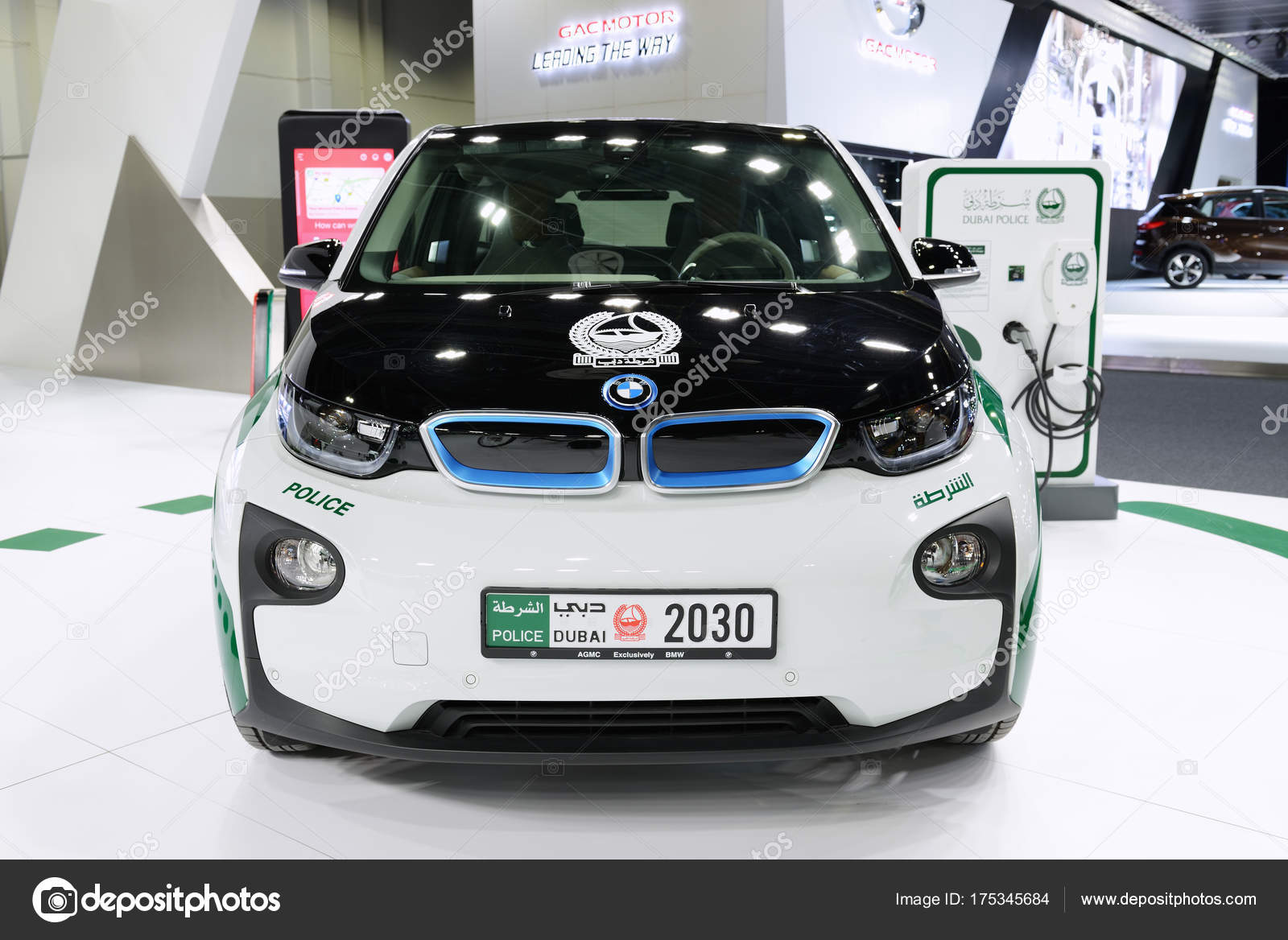 Dubai Uae November 18 The Bmw I3 Of Dubai Police Electric Car Is