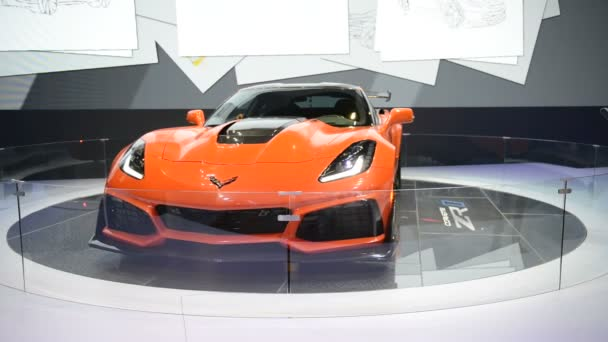 DUBAI, UAE - NOVEMBER 18: The Chevrolet Corvette ZR1 sportscar is on Dubai Motor Show 2017 on November 18, 2017