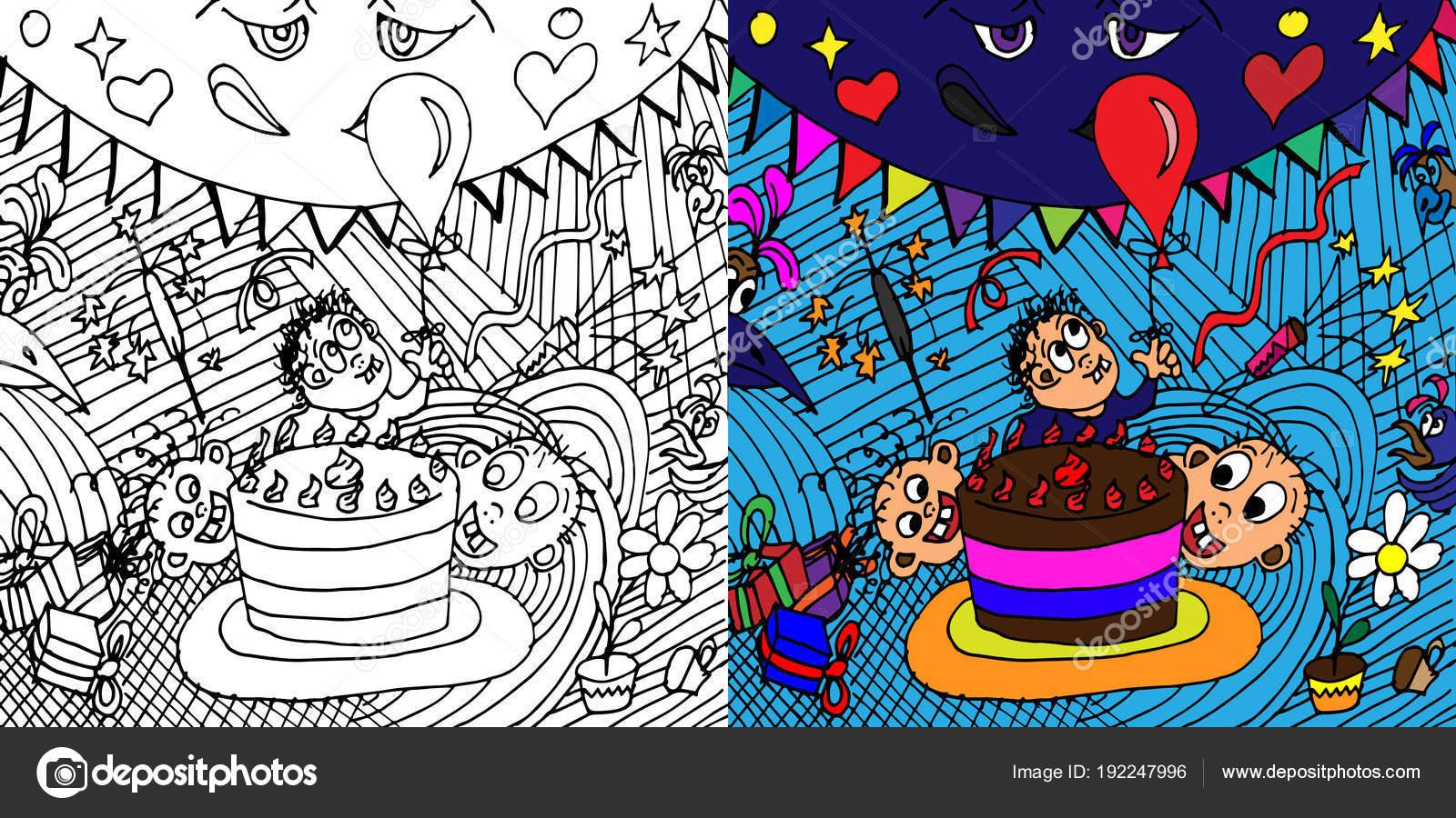 Empresa feliz de los niños. Ilustración de vector en el estilo de ...