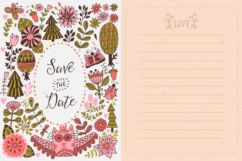 Save the date greeting card. Forest theme.