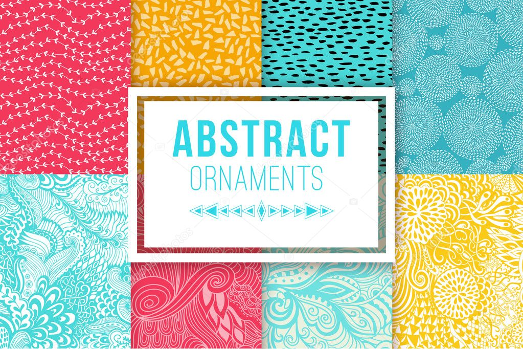 Abstract background set vector textures. Ethnic backdrop.