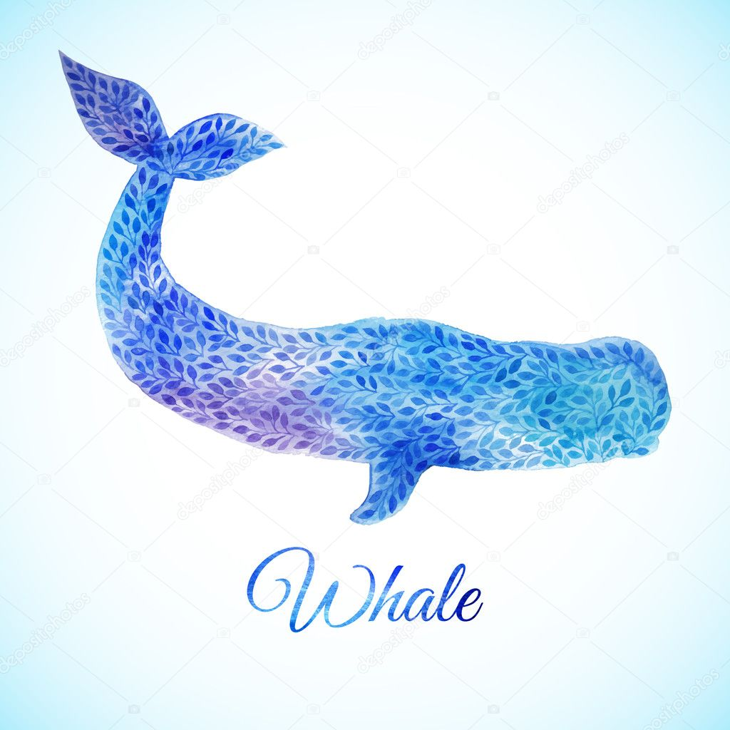 Blue Watercolor whale illustration