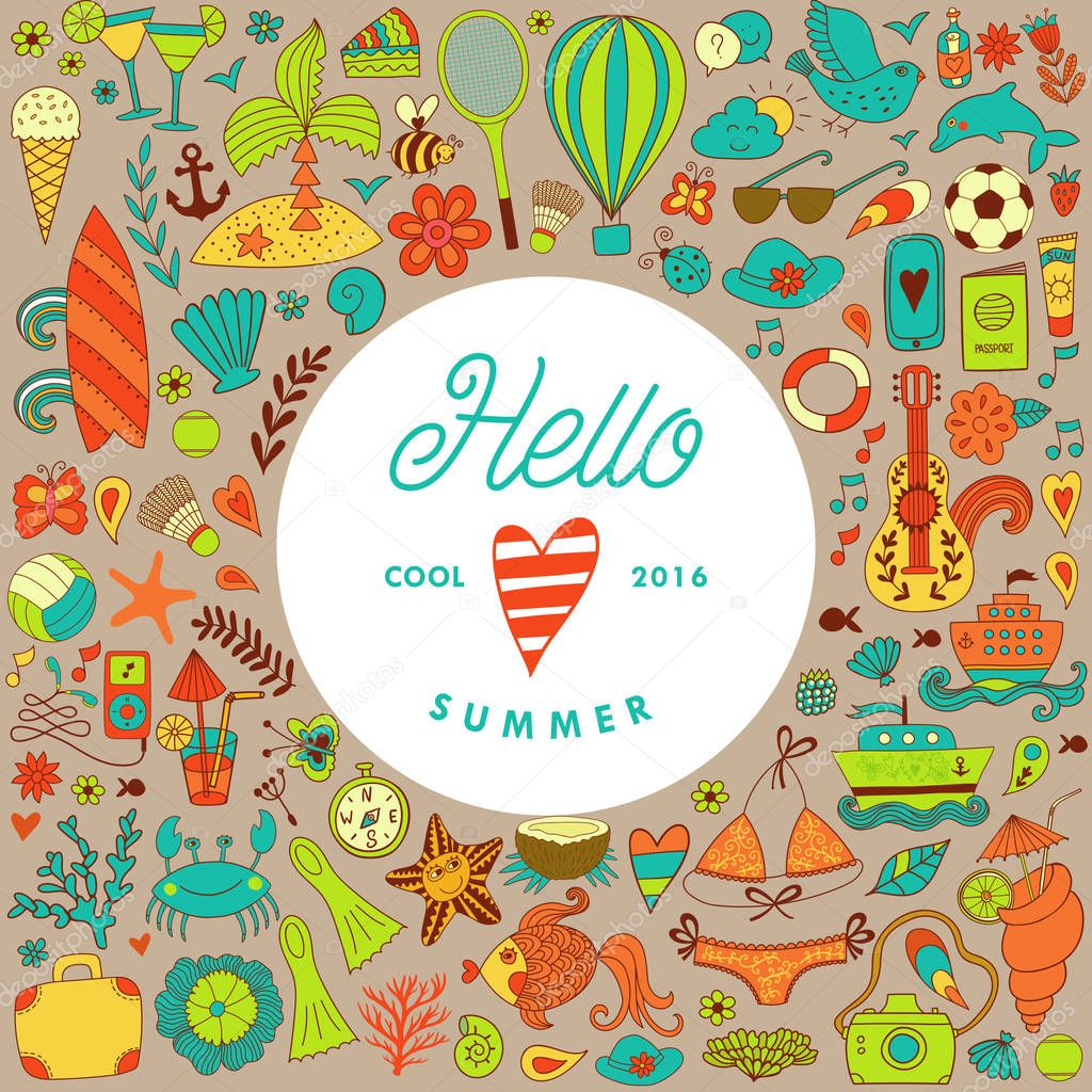 Summer vacation hand drawn vector elementss and objects, beach symbols.