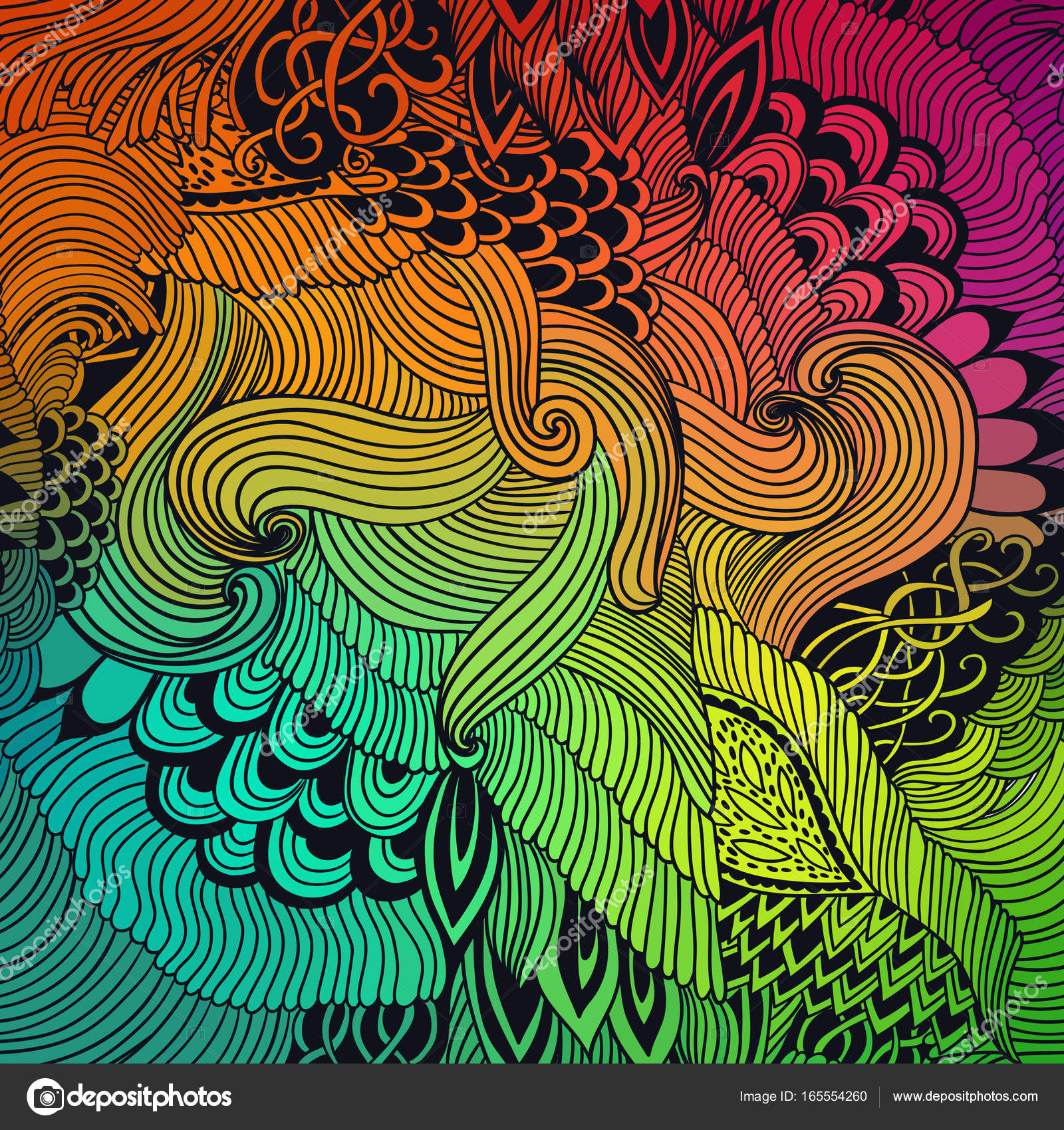 Abstract Pattern Background With Waves Ornament Hand Draw