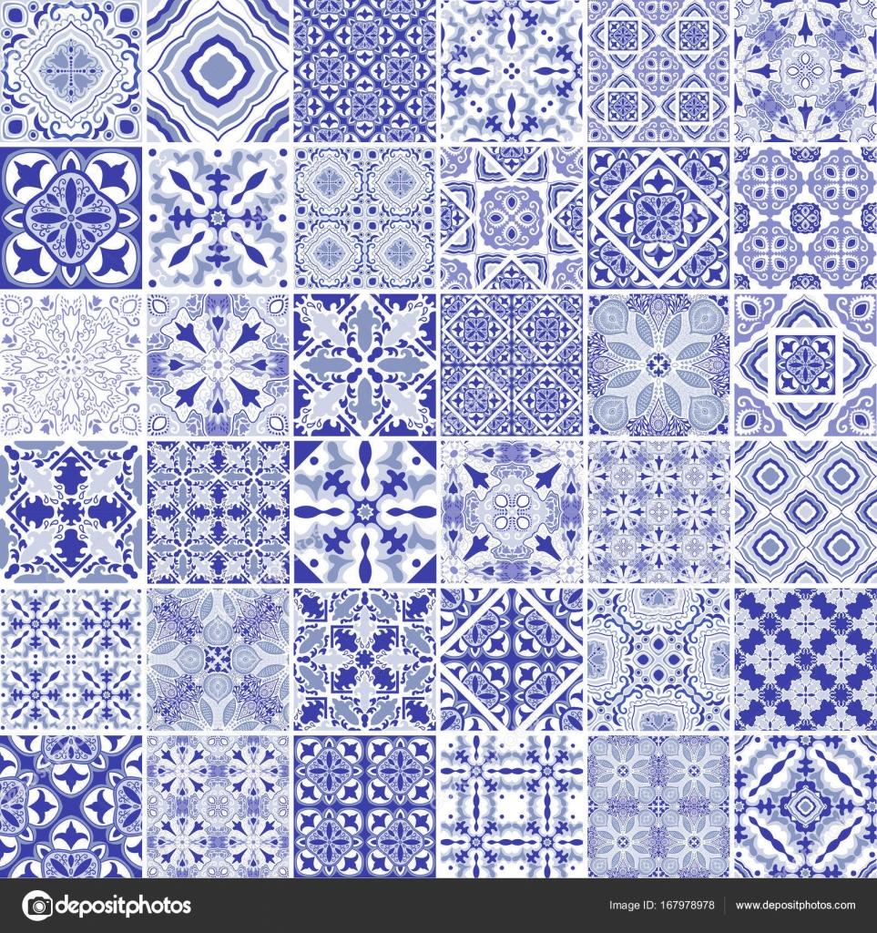 Traditional ornate portuguese decorative tiles azulejos Vintage