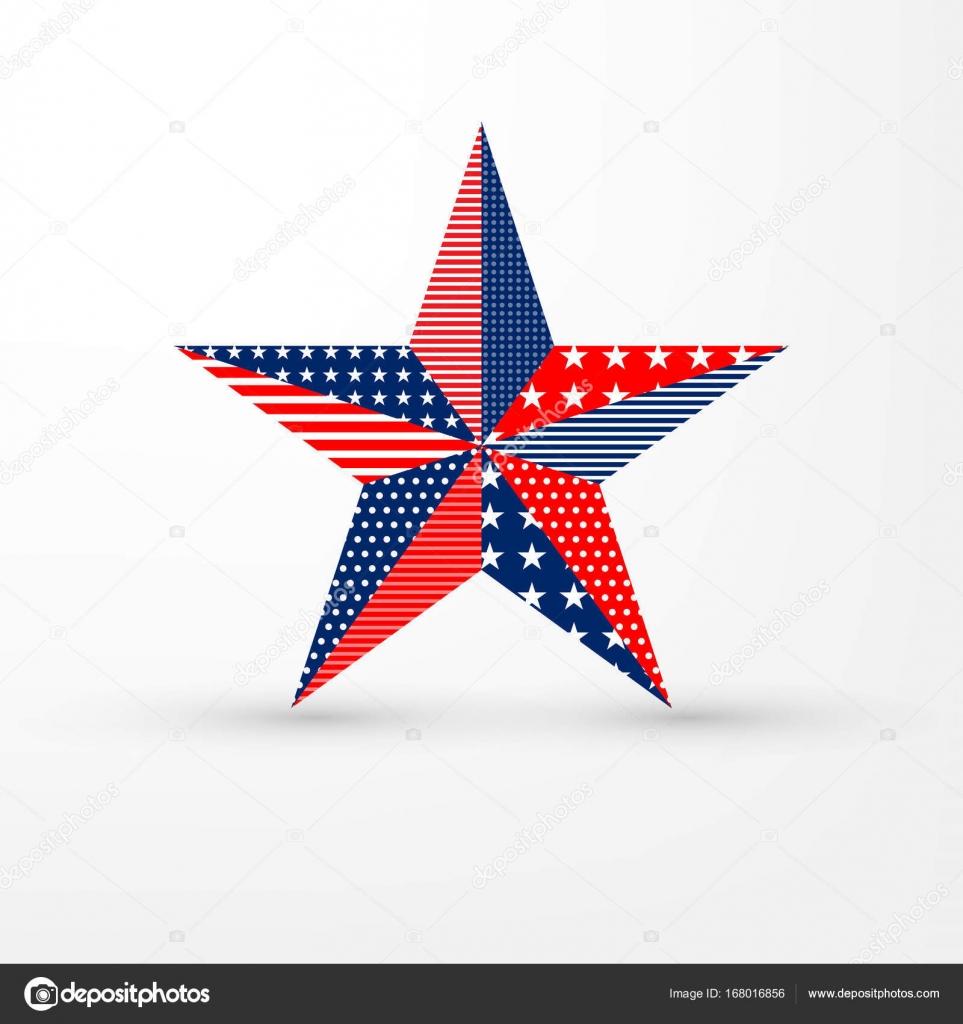 Fünfzackigen Stern auf weißem Hintergrund mit Usa Flagge Muster ...