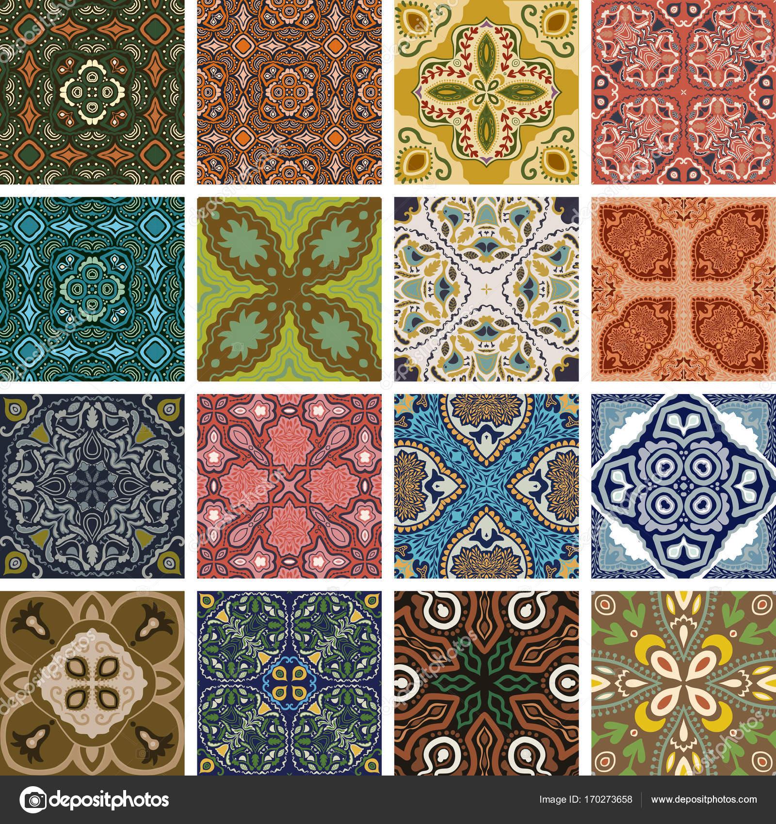 Tradizionale Portoghese Ornato Decorativo Piastrelle Azulejos. Sfondo  Astratto. Vettoriale Illustrazione Disegnata A Mano,