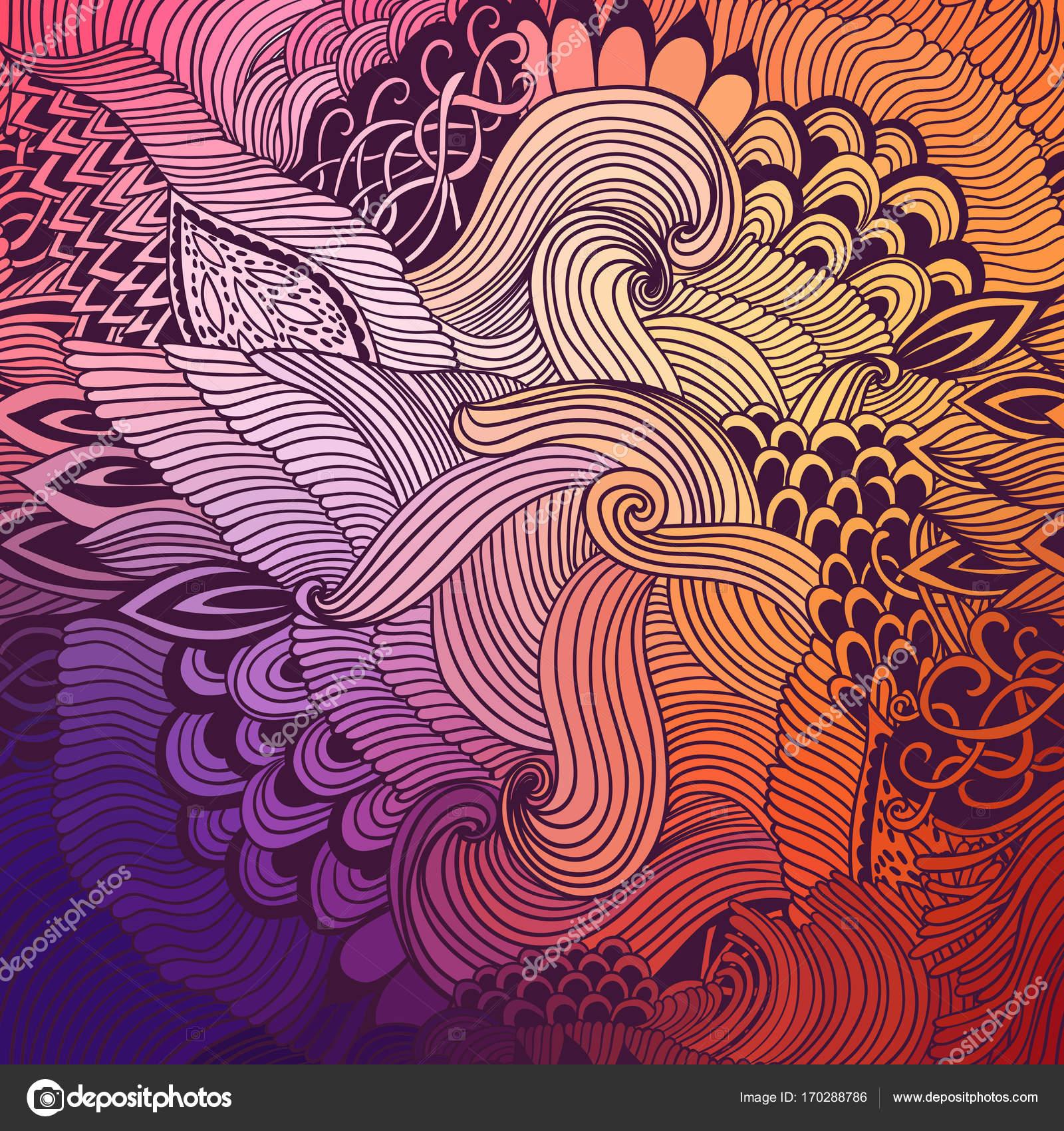 Fondo abstracto con el ornamento de las olas. Mano dibuja la ...
