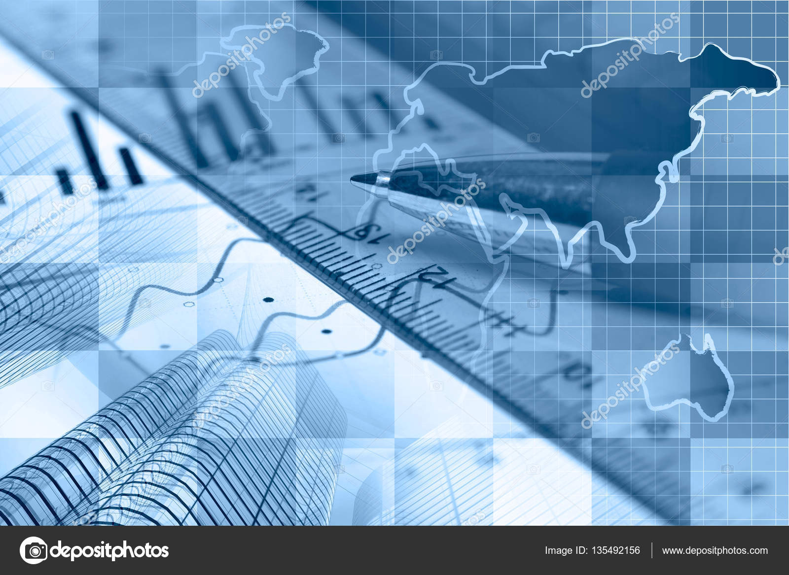 financial background in blues with map buildings graph and pen
