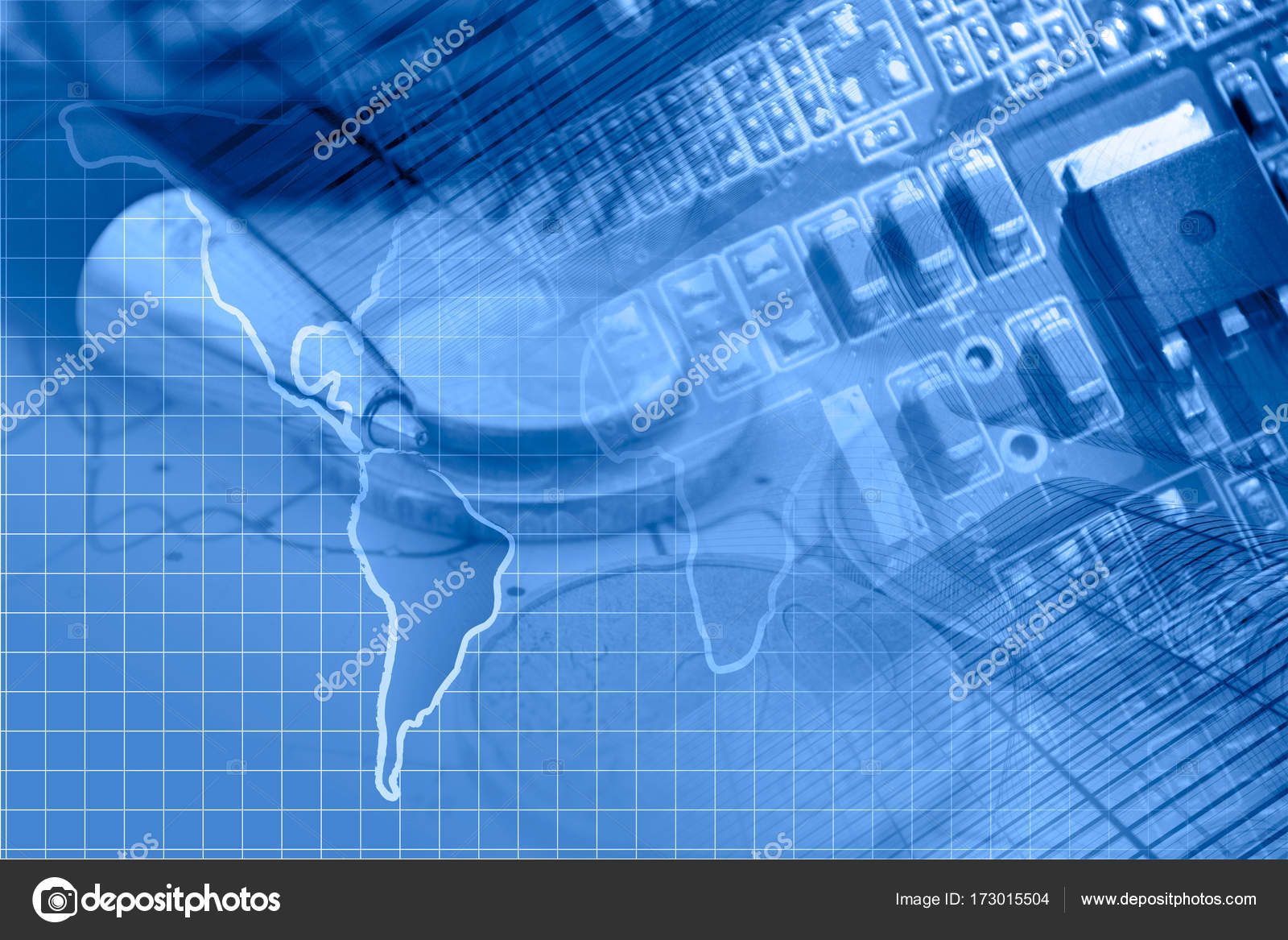 business background in blues with map electronic device and pen