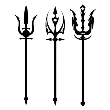 Set vector illustration of abstract black trident on a white bac