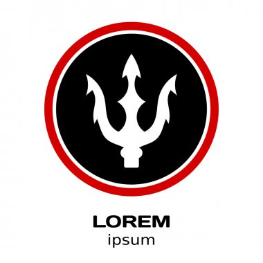 Vector illustration of a trident logo in a black circle with a r