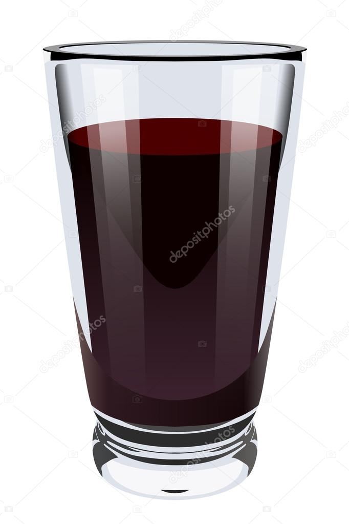 Vector realistic illustration of a high glass glass with dark li