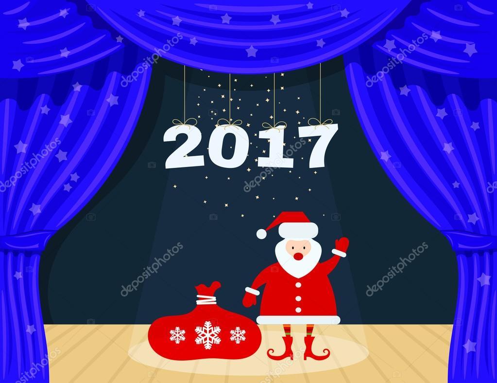 open blauw theater gordijn met sterren en de kerstman santa clau stockvector