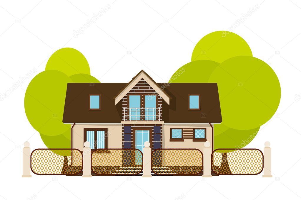 Sevimli Küçük Ev çizgi Film House çit Ve Yeşil Ağaç üzerinde Bir