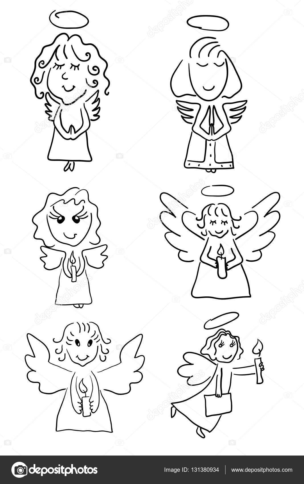 Dibujos Angeles Para Colorear Ilustración De Vector Set Gráficos