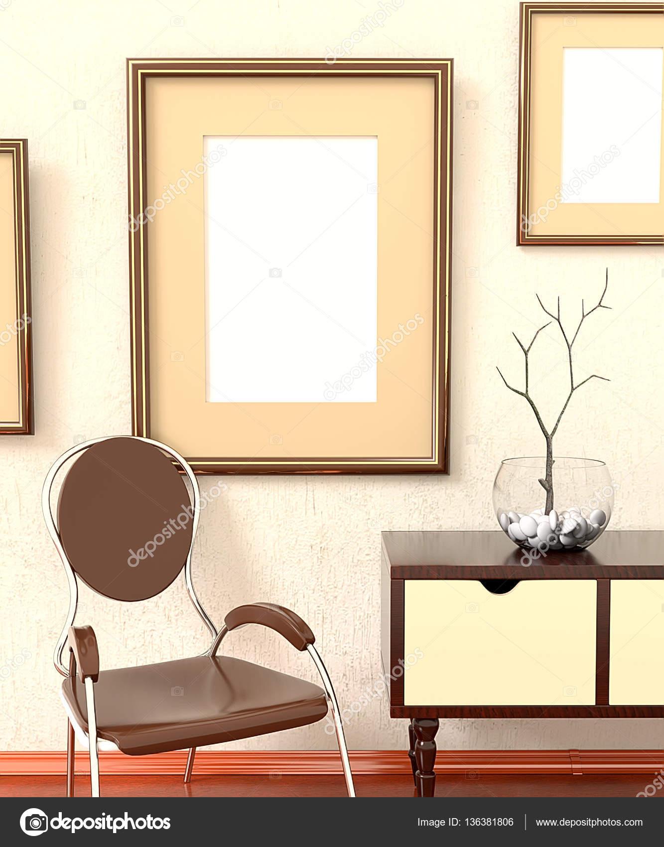 Mocap Home Retro Interiors. Room With Furniture, Empty Picture P U2014 Stock  Photo