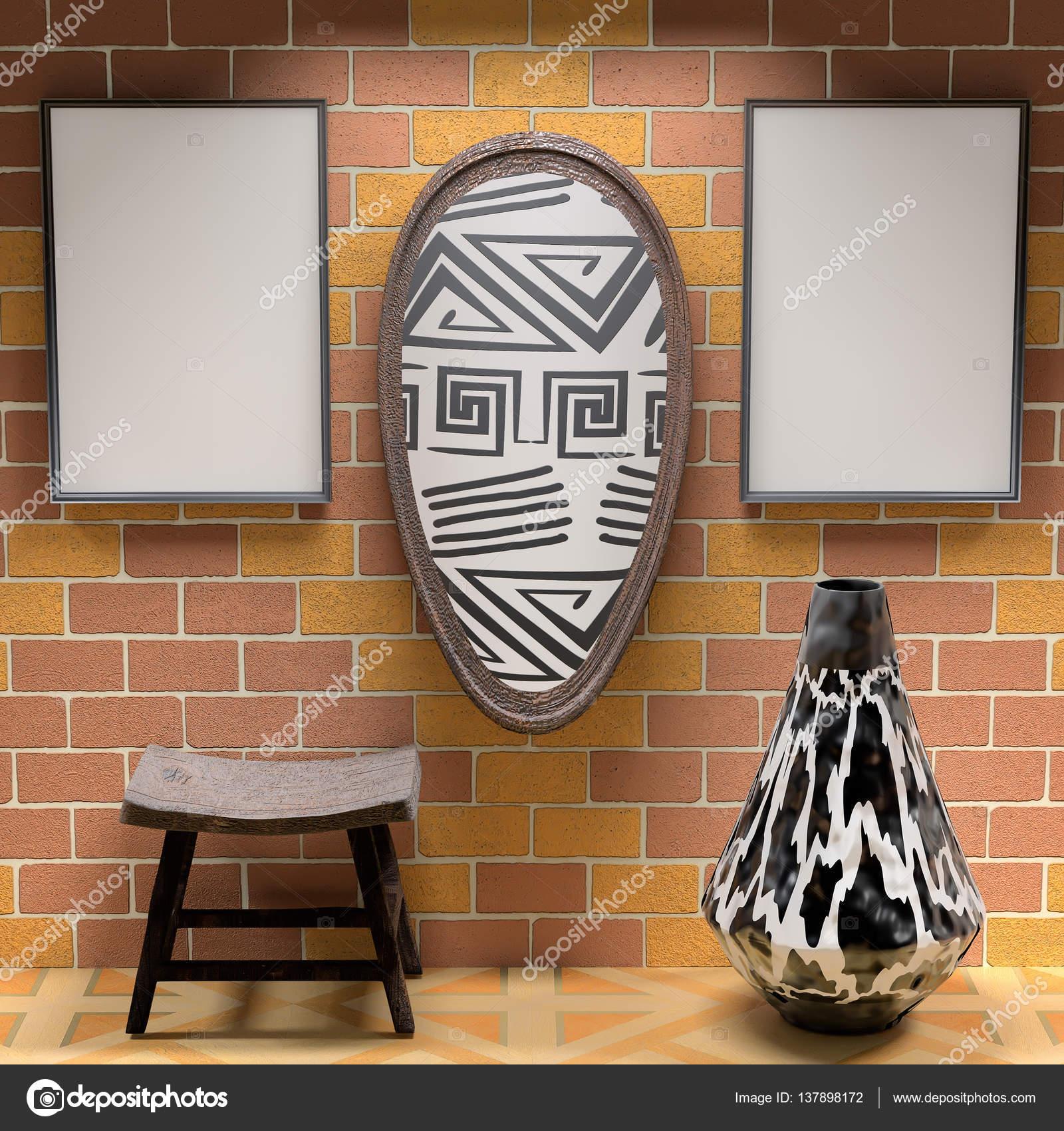 Mocap Afrikanischen Innenraum Wohnzimmer. Leere Bilder Und Schild W U2014  Stockfoto