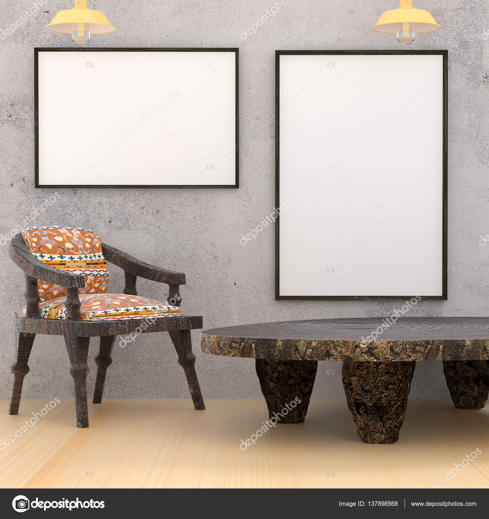 MOCAP etno interior gabinete. Mesa redonda de madera, una silla ...