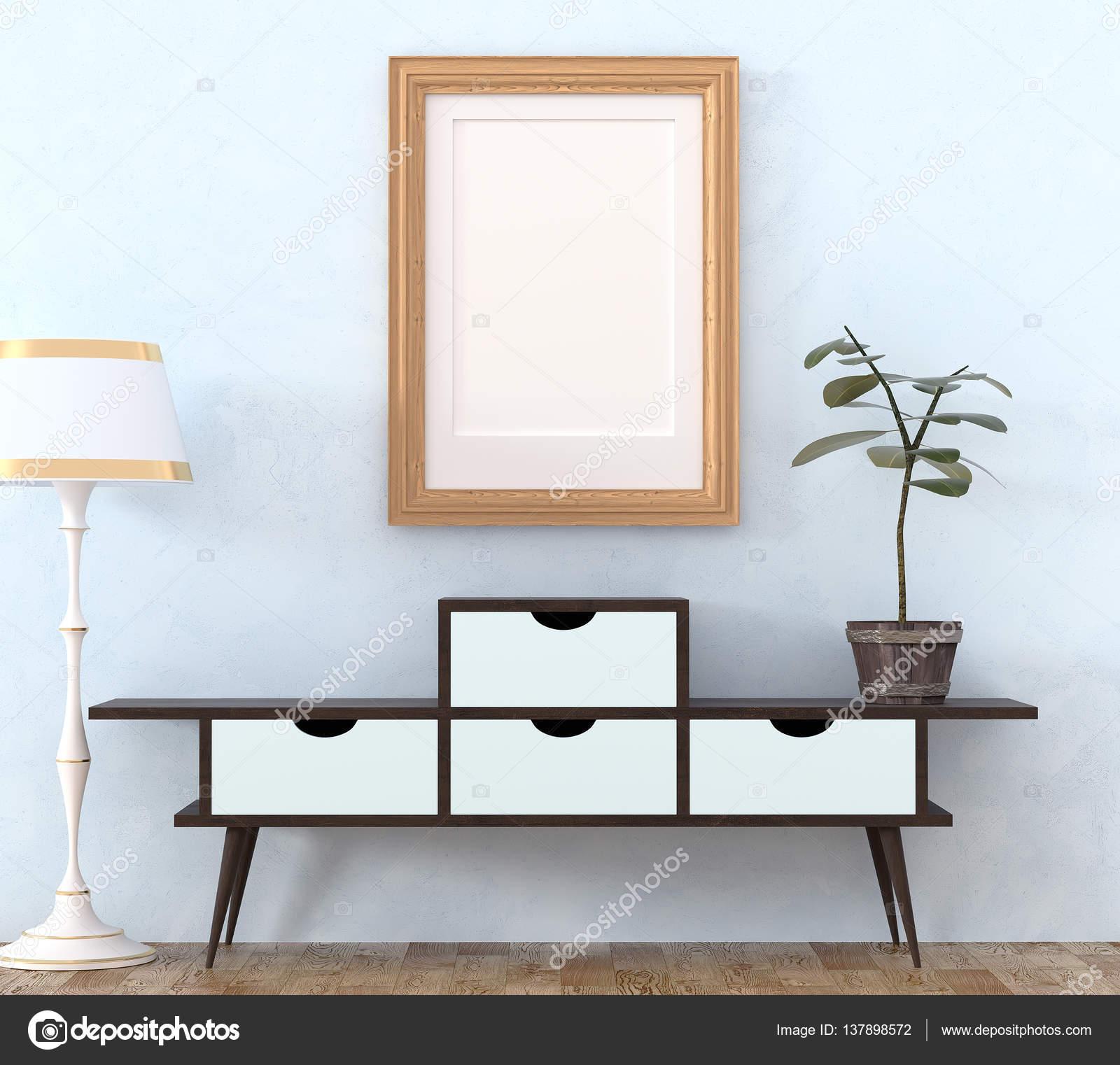 Mock up retro interieur. Licht houten kast met donkere poten en ...
