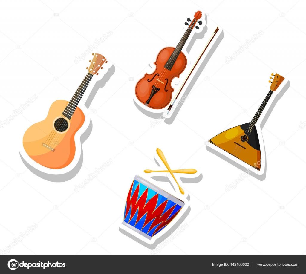 Instrumentos Musicales Dibujo A Color Sistema De Color Vector