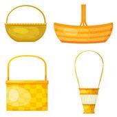 Sada abstraktní žluté košíky. Kreslený styl. Elegantní desig