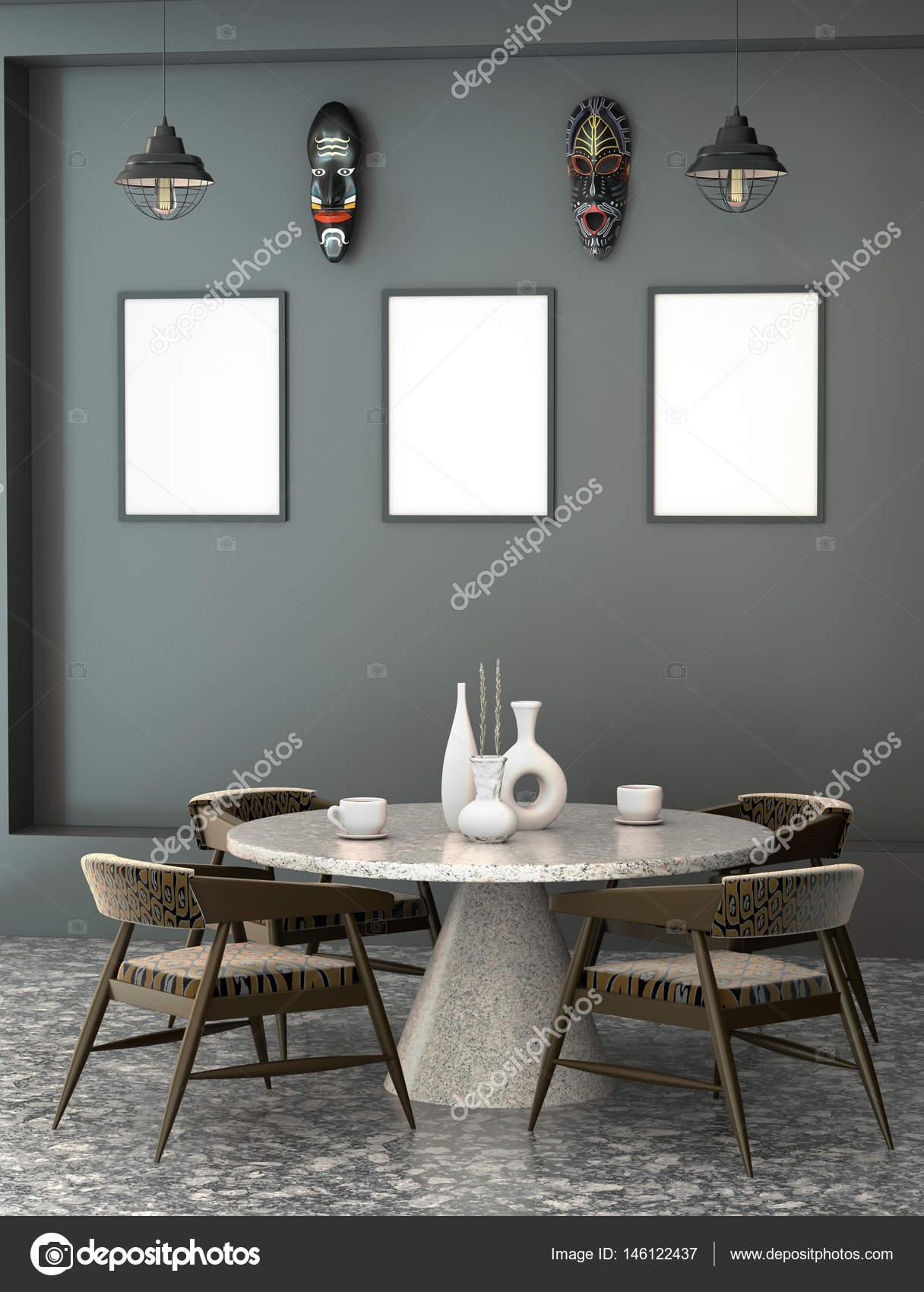 Abstracto 3d interior de la cafetería con una mesa redonda ...