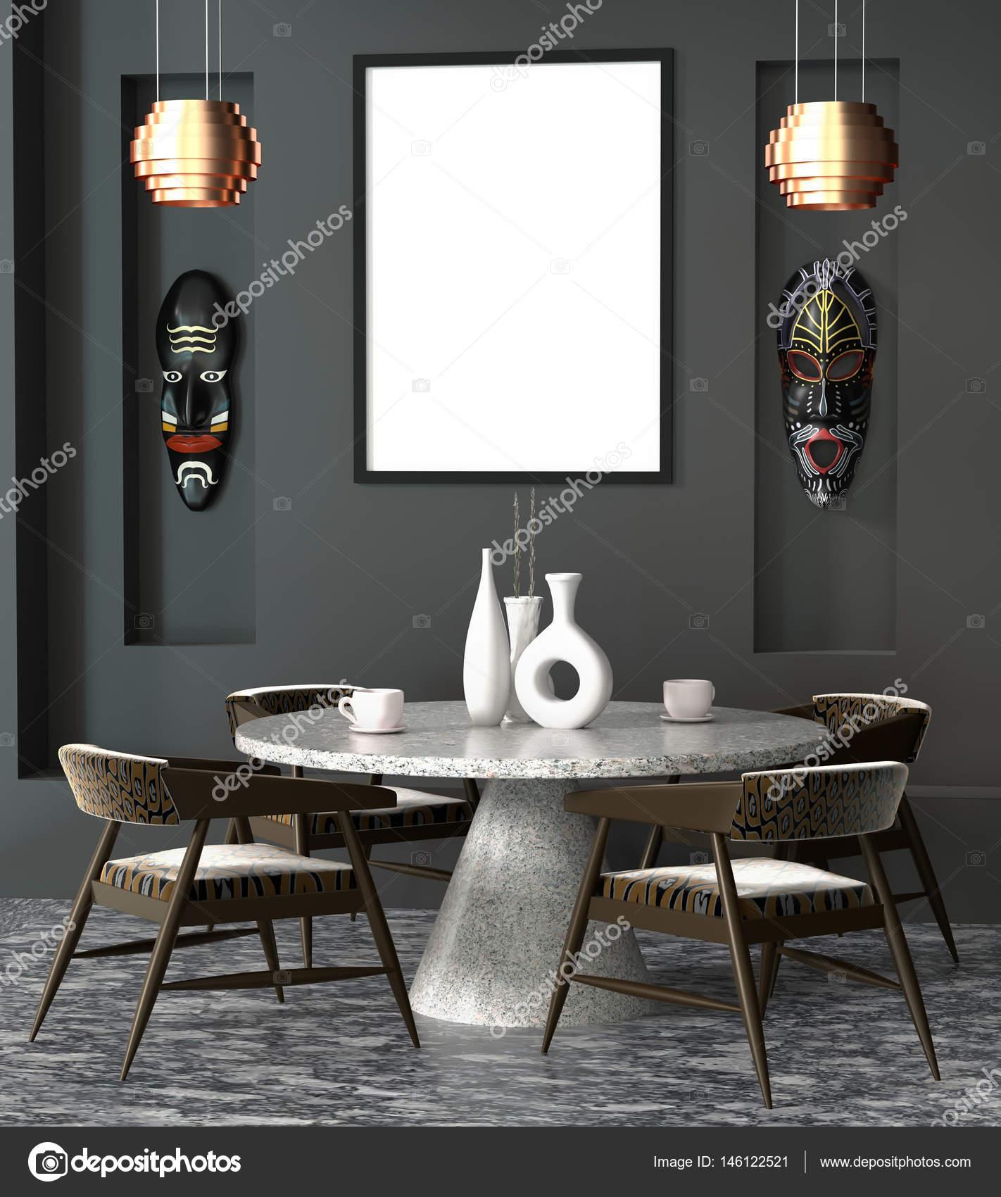 Abstracto 3d tribal interior el café con una mesa redonda. Mock ...