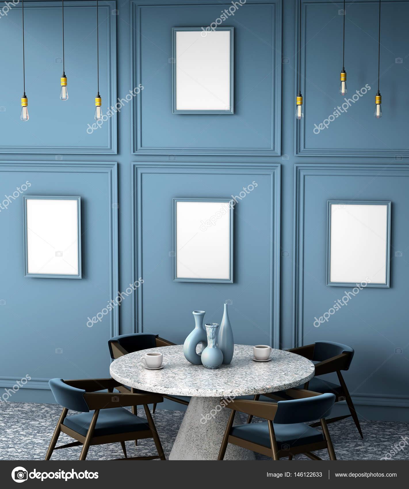 3D interior del café con un granito de mesa redonda. Mock up con ...