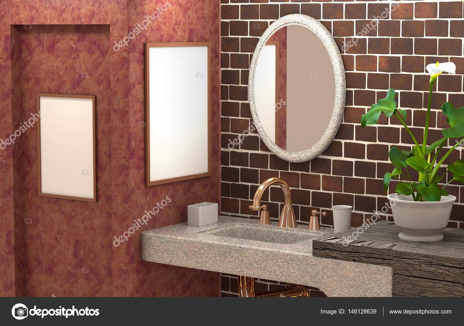 3d interieur des badezimmers mit betonmauer. abstrakte furnitu