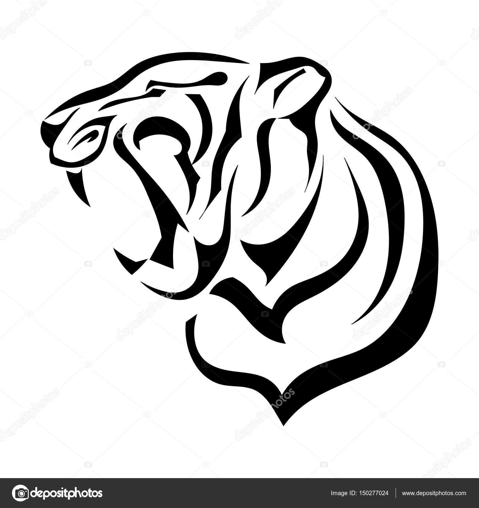Silhouette of tiger angry beast bares its fangs vector illustr silhouette of tiger angry beast bares its fangs vector illustr stock vector biocorpaavc