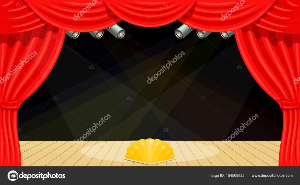 Cartoon theater. Theater gordijn, balken van zoeklichten. Spectac ...