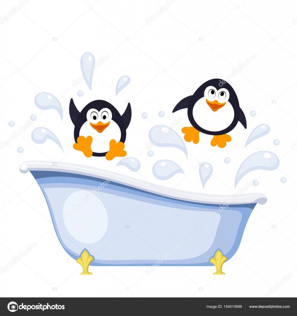Deux petits pingouins se baignent dans la baignoire r sum de couleur dessin anim st image - Email de baignoire abime ...