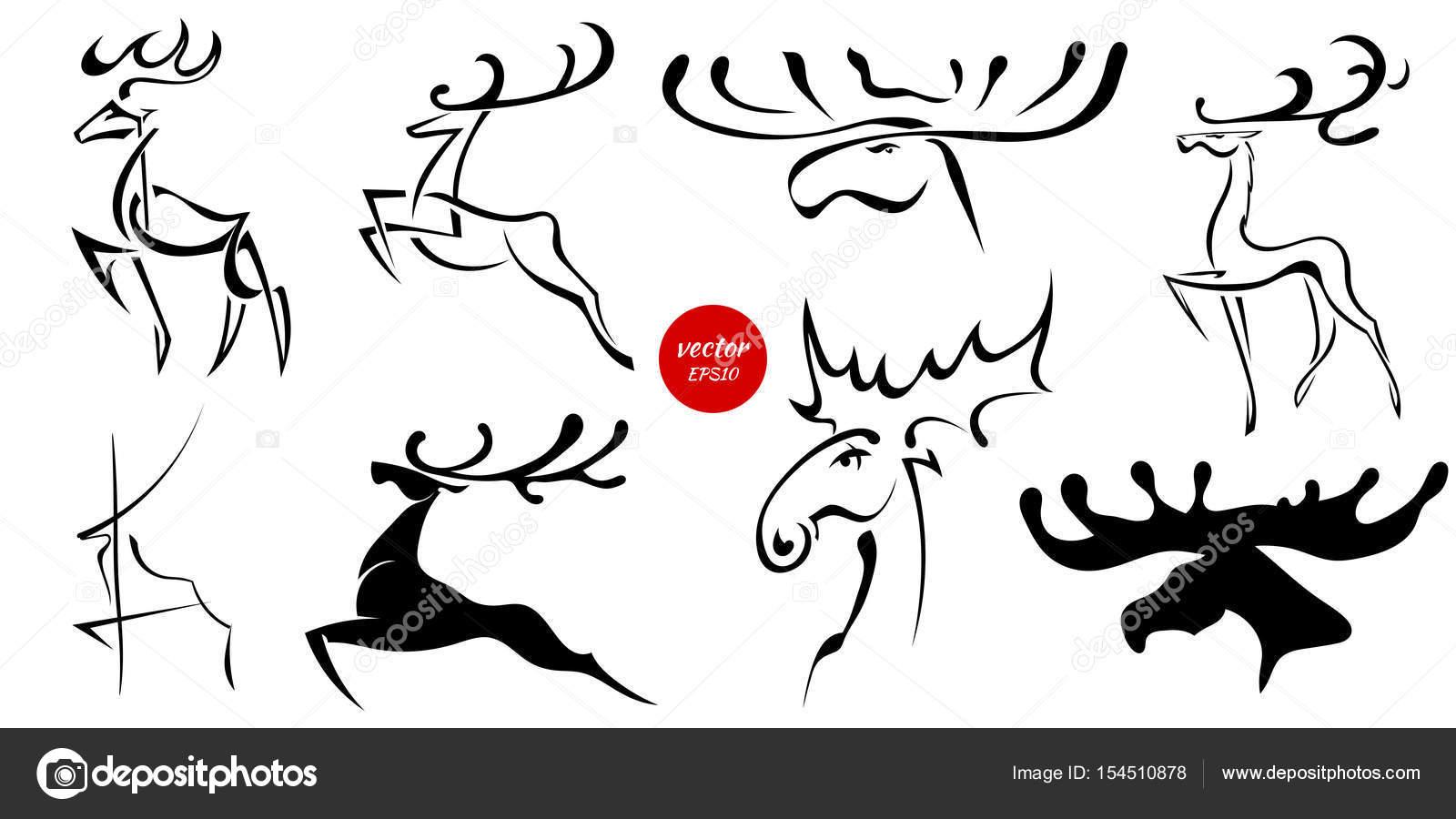 Conjunto de imágenes negro de alces y ciervos. Dibujos abstractos de ...