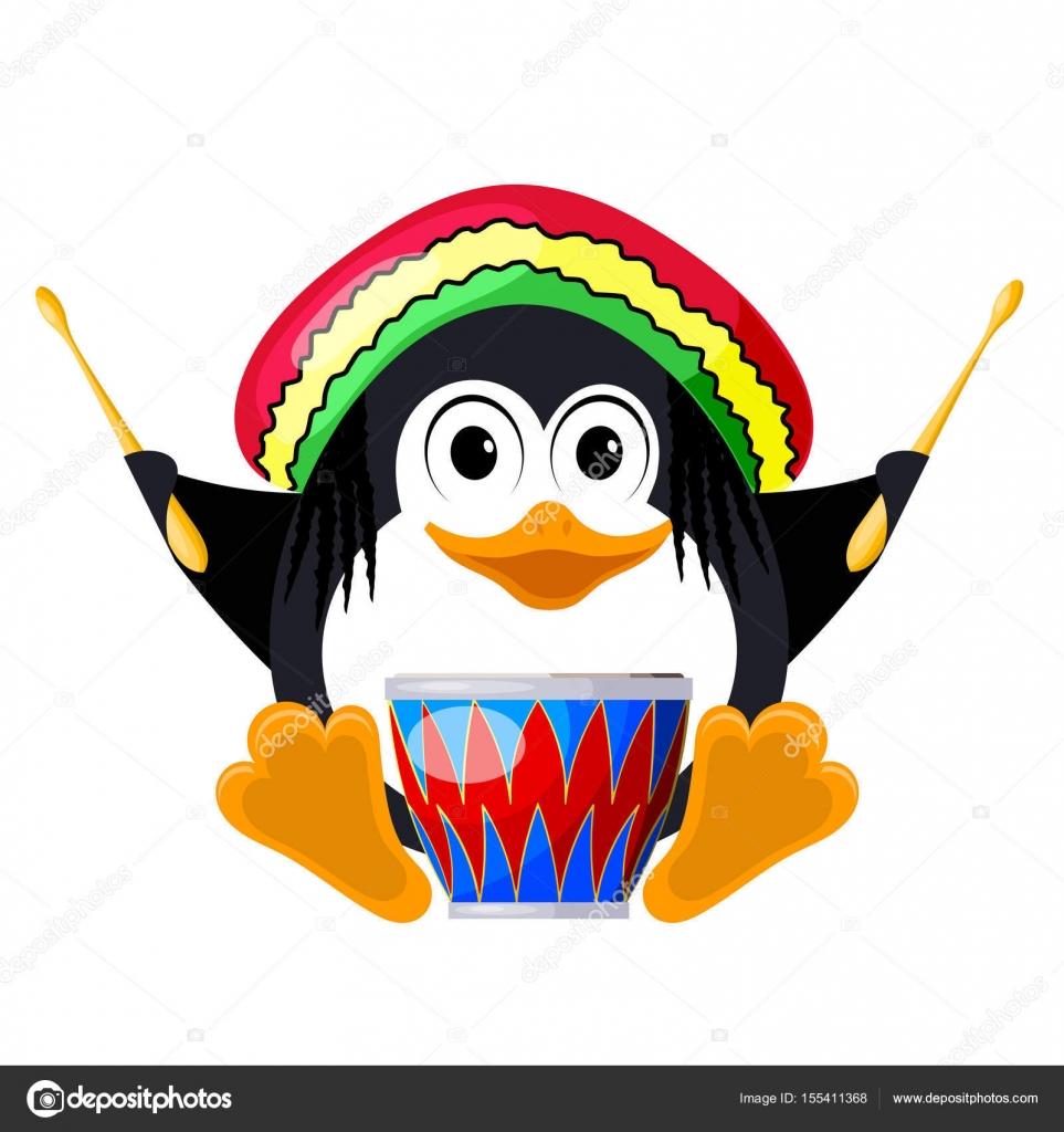elegir despacho elegante y elegante estilo de moda Penguin with a drum in a beret. The little penguin is ...